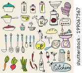 kitchen set in vector. stylish... | Shutterstock .eps vector #199067567