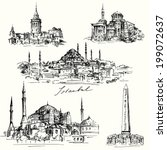 Iistanbul - Hagia Sofia - hand drawn collection - stock vector