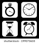 vector black clocks icons in...