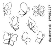set of hand drawn butterflies | Shutterstock .eps vector #199081337