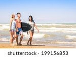 group of young happy people on... | Shutterstock . vector #199156853