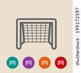 soccer goal flat icon. vector...