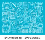 doodle communication background | Shutterstock .eps vector #199180583