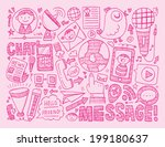 doodle communication background | Shutterstock .eps vector #199180637
