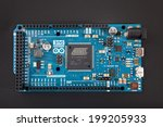 Small photo of LJUBLJANA, SLOVENIA - JUNE 15, 2014: Photo of Arduino Due microcontroller board based on the Atmel ARM Cortex-M3 CPU. It is the first Arduino board based on a 32-bit ARM core microcontroller.