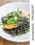 salmon black pasta | Shutterstock . vector #199230197