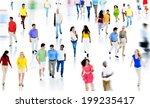 Multiethnic People Walking And...