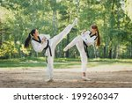 Two Karate Woman Fighting On...