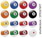 set of pool balls on white... | Shutterstock .eps vector #199267697