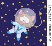 cat astronaut on a stars... | Shutterstock .eps vector #199274117