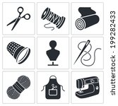 Clothing Manufacture Icons Set