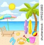 tropical beach   Shutterstock . vector #199321883