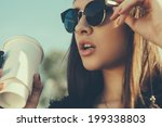 pretty hipster girl in... | Shutterstock . vector #199338803