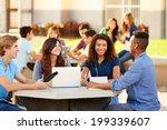 high school students hanging... | Shutterstock . vector #199339607