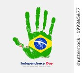 Hand print, which bears the flag. Independence Day. Grungy style. Grungy hand print with the flag. Hand print and five fingers. Used as an icon, card, greeting, printed materials. Flag of Brazil