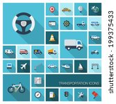 Vector flat colored icons with long shadows. Transportation set for business, industry, internet, computer and mobile apps: car, wheel, helicopter, bicycle symbols in modern graphic illustration.
