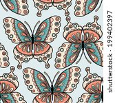 boho butterfly seamless repeat | Shutterstock .eps vector #199402397
