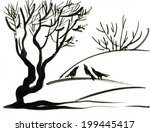 black and white sketch of... | Shutterstock .eps vector #199445417
