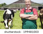 farmer with milk churns at his... | Shutterstock . vector #199481003
