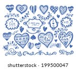 big set of hand drawn love and... | Shutterstock .eps vector #199500047
