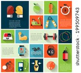 Modern fitness colorful flat icons with long shadow .Vector Design