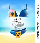 swimsuit. lettering. seascape.... | Shutterstock .eps vector #199551113
