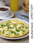 Small photo of Omelet with goat cheese (Adygei cheese) and green onions