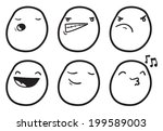 cute emoticons with different... | Shutterstock .eps vector #199589003