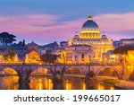 night view of old roman bridge... | Shutterstock . vector #199665017