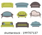 sets of colorful sofa  vector... | Shutterstock .eps vector #199707137