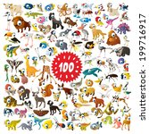 100 vector cartoon animals - stock vector
