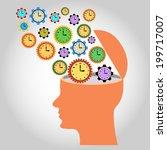 head  illustration  many clocks ... | Shutterstock .eps vector #199717007