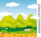 field landscape with flowers ... | Shutterstock .eps vector #199768157