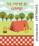 summer camp card design. vector ... | Shutterstock .eps vector #199790453