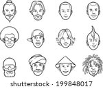 whiteboard drawing - cartoon avatar eccentric faces