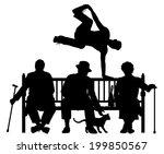 editable vector silhouette of a ... | Shutterstock .eps vector #199850567