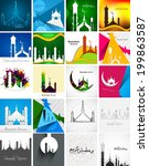 Mosque with colorful Ramadan Kareem collection card set presentation background vector illustration