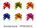 color gift bow set. vector... | Shutterstock .eps vector #199924313
