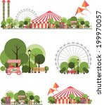 urban amusement park circus tent roundabouts in the sky kites and balloons for large format  printing on white and transparent background consist of several compositions | Shutterstock vector #199970057