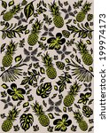 tropical pattern with leaves... | Shutterstock .eps vector #199974173