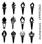 torch icons set | Shutterstock .eps vector #199992863