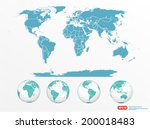 world map with globe vector... | Shutterstock .eps vector #200018483