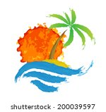 tropical palm on island with... | Shutterstock .eps vector #200039597