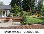 back yard of a modern pacific... | Shutterstock . vector #200092403