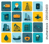 Oil extraction refining and petroleum production industry with tanker transportation ship symbols icons set flat vector illustration