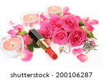 decorative cosmetics and roses | Shutterstock . vector #200106287