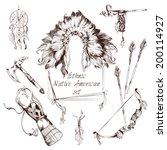 ethnic native american indian...   Shutterstock .eps vector #200114927