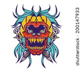 red skull with blue hair tattoo ... | Shutterstock .eps vector #200147933