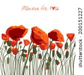 red poppies. isolated on white... | Shutterstock .eps vector #200151227