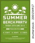 retro summer party design... | Shutterstock .eps vector #200154917
